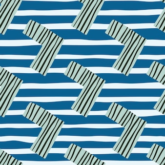 Kids seamless pattern with corners in blue tones. white backgroud with strips.