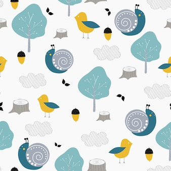 Kids seamless pattern with cute snail