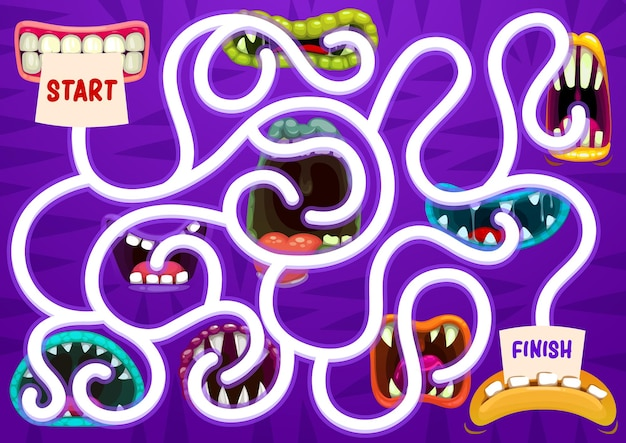 Kids search way game with monster open maws