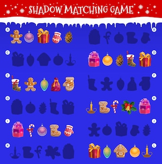 Kids shadow matching game with christmas objects. children maze or riddle with matching task. gingerbread cookies, christmas tree ornaments baubles, gift box and mitten, candy cane, stocking