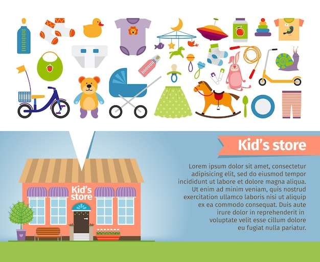 Kids shop. childrens clothing and toys. retail and snail, whirligig and socks, rattle and pacifier, stroller and bear.