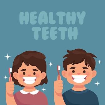 Kids show their healthy white teeth