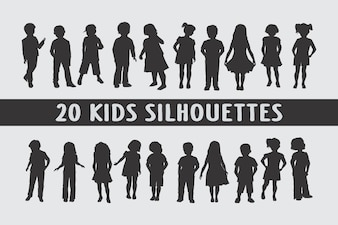 Kids Silhouettes in different poses set of shapes