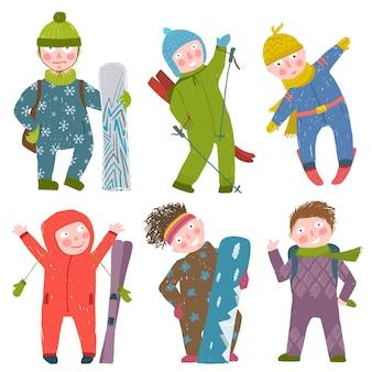 Дети катаются на лыжах и сноуборде сноубординг и катание на лыжах зимний сезон весело спортивные векторные иллюстрации