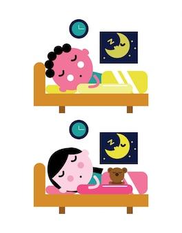 아이들은 침대에서 자요. 아이 취침 개념. 평면 캐릭터 디자인 및 평면 요소. 벡터 일러스트 레이 션