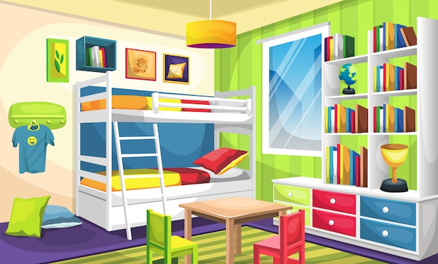 Kids sleep room with bunk bed, desk with full of books and trophy, ceiling lamps, wall picture, hangers, bed and pillow