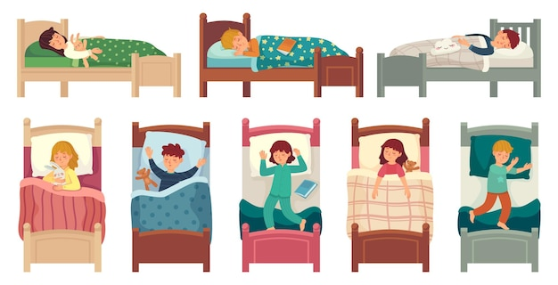 Kids sleeping in beds. child sleeps in bed on pillow, young boy and girl asleep.