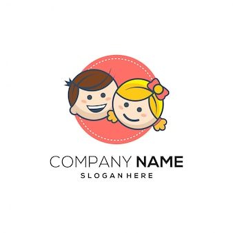 Kids smile cartoon logo