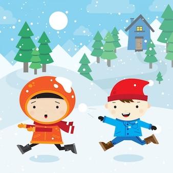子供たちが戦いを雪だるま式 無料ベクター