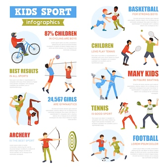 Kids sport infographics set