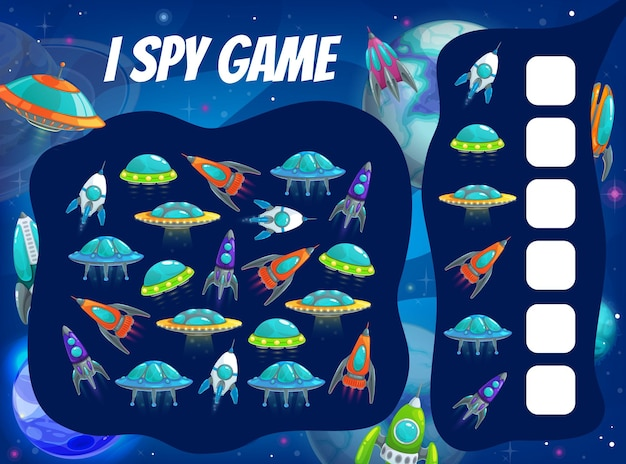 Kids spy game with space rockets and ships