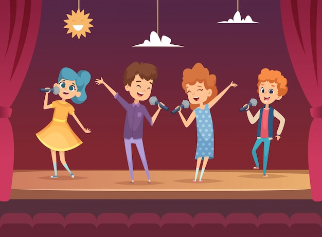 Kids stage. children performance karaoke sing boys and girls  backgrounds