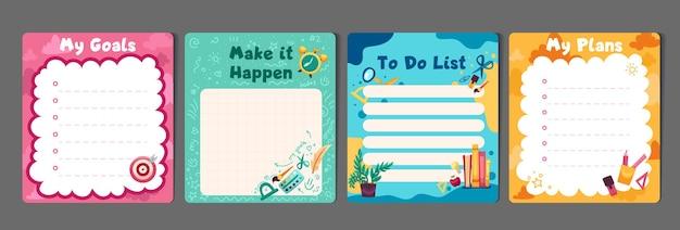 Набор детских канцелярских принадлежностей с памятками планировщикам, шаблон списков дел для плановиков, контрольные списки повестки дня