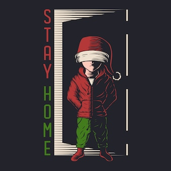 Kids stay home christmas illustration