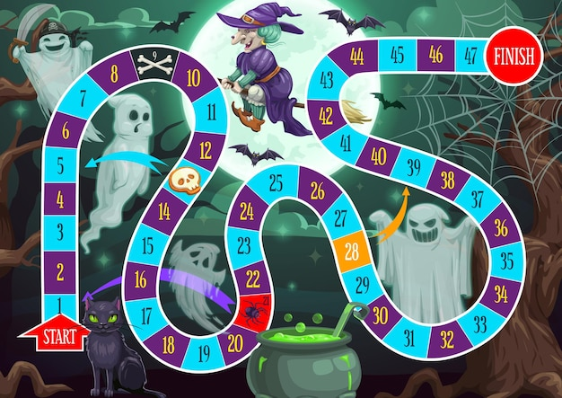 Kids step path vector board game with halloween characters and block path. boardgame with numbers, start and finish. educational children riddle, family or preschool recreation game cartoon template