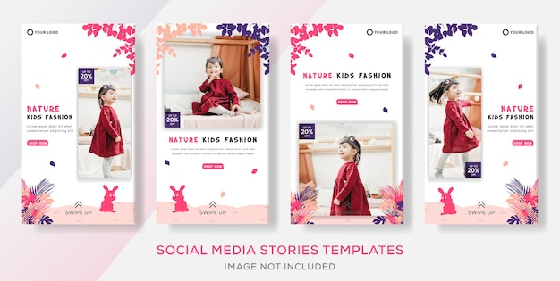 Kids store clothes fashion sale banner template stories post