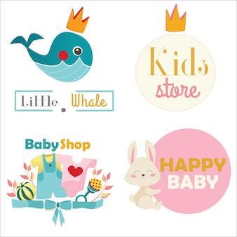 Kids store or toy shop logo set. vector illustration