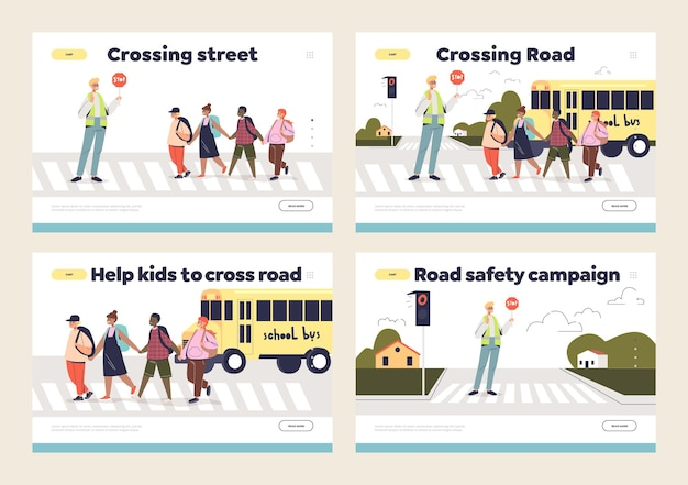 Kids and street crossing set of landing page