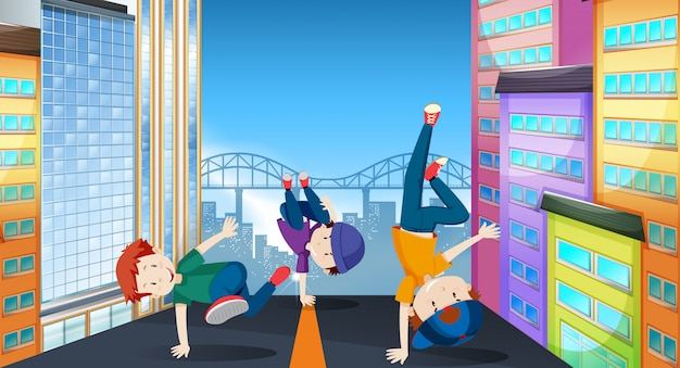 Kids in a street dance illustration