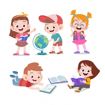 Kids study together vector illustration