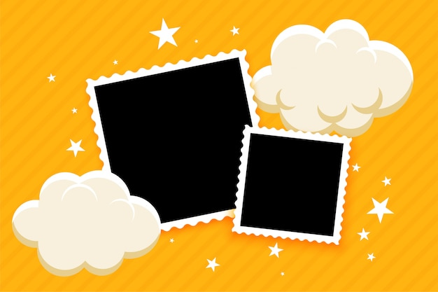 Kids style photo frames with clouds and stars