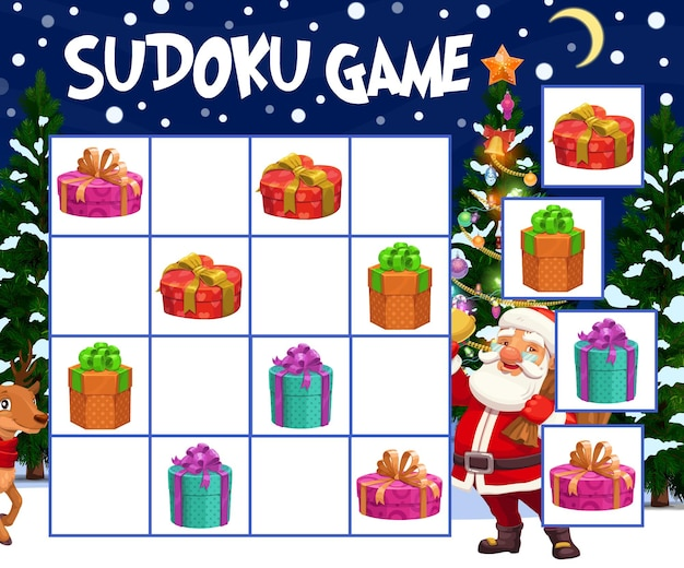 Kids sudoku game with christmas gifts boxes. child winter holidays riddle, children puzzle maze with wrapped and decorated presents, santa claus and reindeer characters, christmas tree cartoon vector