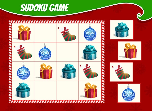 Kids sudoku game with christmas gifts boxes, stocking and ornaments bauble. children activity sheet, logic training puzzle or educational game with winter holiday presents and toys cartoon