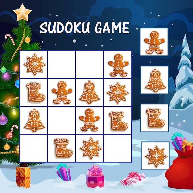 Kids sudoku game with christmas gingerbread cookies. children educational activity worksheet, logical maze or game with winter holidays sweets, decorated christmas tree and gifts cartoon