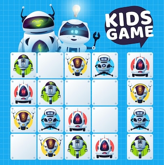 Kids sudoku game with robots maze, vector education puzzle and logic riddle. educational block game worksheet template with cartoon artificial intelligence robots and modern white android bots