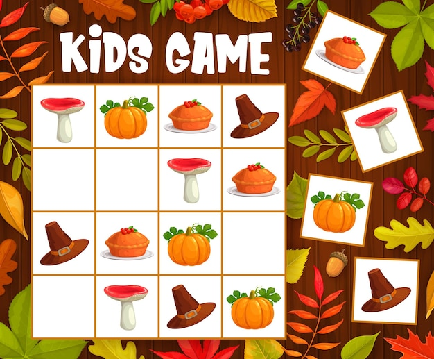 Kids sudoku game with thanksgiving autumn objects