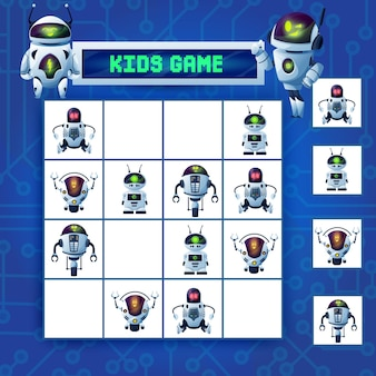 キッズ数独迷路ゲーム、漫画ロボットは、チェッカーボード上のaiサイボーグ、ヒューマノイド、ドローン、アンドロイドのキャラクターで謎をベクトルします。レジャーレクリエーション、カード付きボードゲームのための子供のロジックパズル