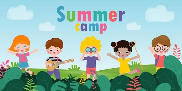 광고 브로셔 또는 포스터에 대 한 아이 여름 캠프 배경 교육 템플릿 캠핑 포스터 전단지 서식 파일 텍스트 벡터 일러스트 레이 션에 활동을 하 고 행복 한 아이