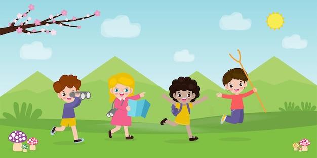 キッズサマーキャンプ背景教育広告パンフレットやポスターのためのテンプレートキャンプで活動をしている幸せな子供たちポスターチラシテンプレートあなたのテキストベクトルイラスト