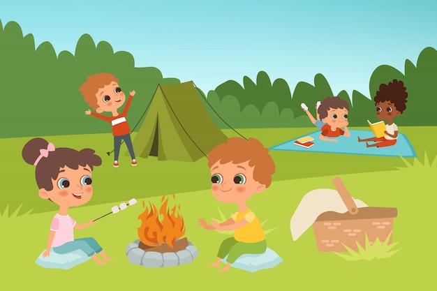 Kids summer camp background with children characters and camping elements