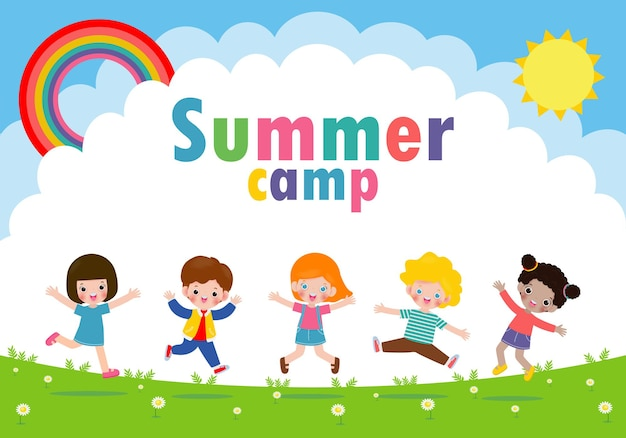 Kids summer camp banner with children jumping in the park