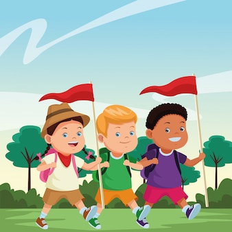 Kids and summer camp cartoons