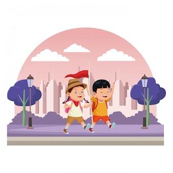 Kids and summer camp cartoons