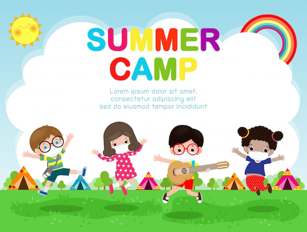 Kids summer camp for new normal lifestyle concept illustration, kids wearing a surgical protective medical mask for prevent coronavirus or covid-19 poster flyer