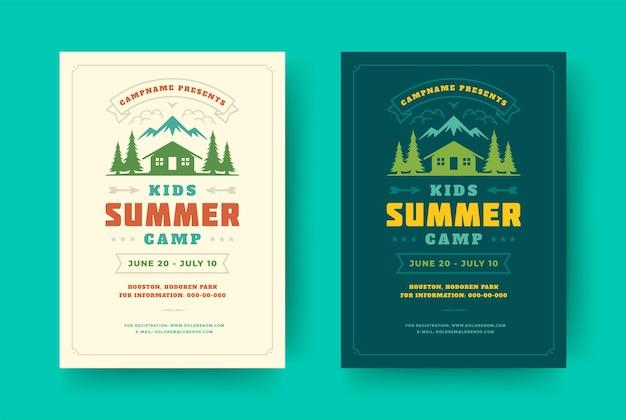 키즈 여름 캠프 포스터 또는 전단지 이벤트 복고풍 타이포그래피 디자인 템플릿