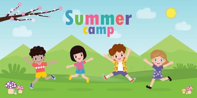 Детский летний лагерь шаблон