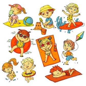 Kids summer vacation. children beach activities set. happy kids people swimming in ocean, sunbathing, surfing, building sand castle, flying kite collection. childhood summer vacation activities