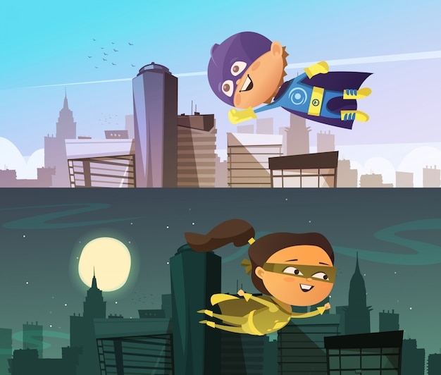 Kids superhero two flat horizontal banners with cartoon boy and girl figurines dressed