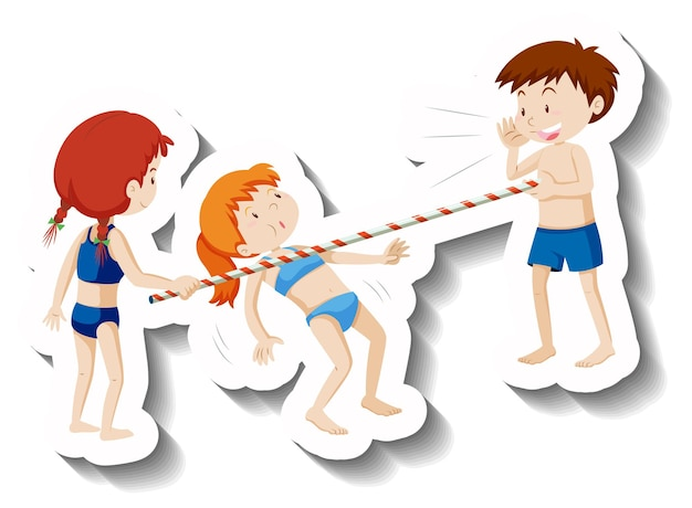 Bambini in costume da bagno che giocano a ballare il limbo in spiaggia
