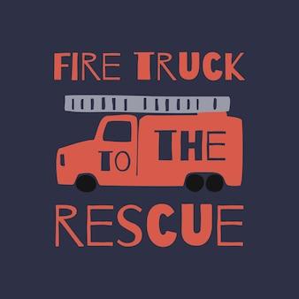 Детская футболка с принтом fire truck. векторная графика футболки мальчиков в стиле каракули. красный огонь симпатичные автомобили, изолированных на синем фоне. принт для детской футболки, текстиля, упаковки, обложки
