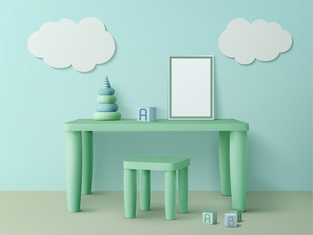 Kids table with poster mockup, chair, toy cubes, pyramid and cloud decoration on wall