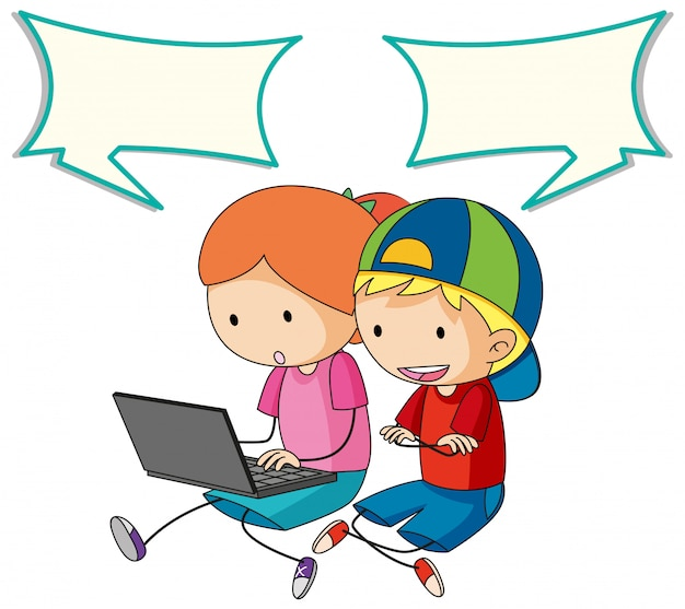 Kids talking with computer and speech bubble