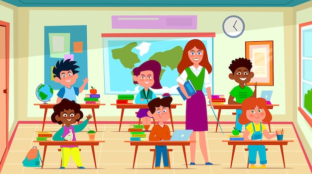 Kids and teacher in classroom. school pedagogue teaches lesson to pupil group in class interior. education cartoon  happy looking schoolchildren concept