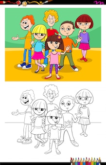 Kids and teen characters group color book