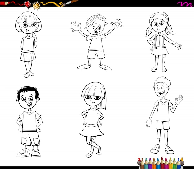 Kids or teen characters set coloring book