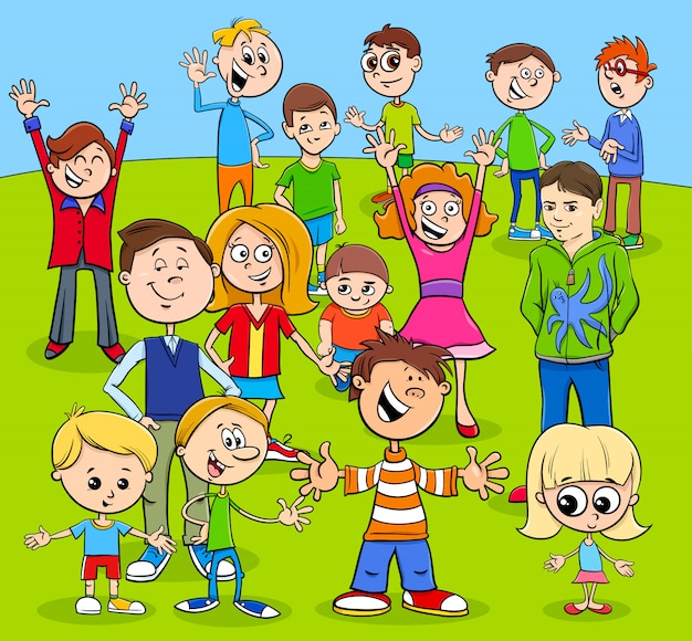 Kids and teens cartoon characters group